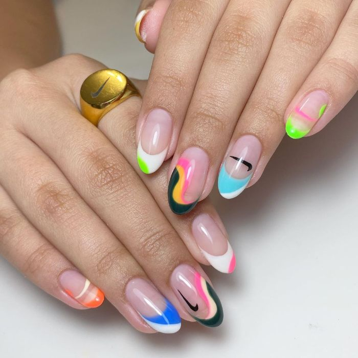 spring nail designs abstract french manicure in different colors with two nike logos long almond nails