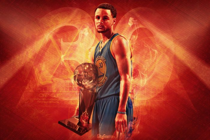 steph curry holding larry obrien trophy golden state warriors wallpaper orange background