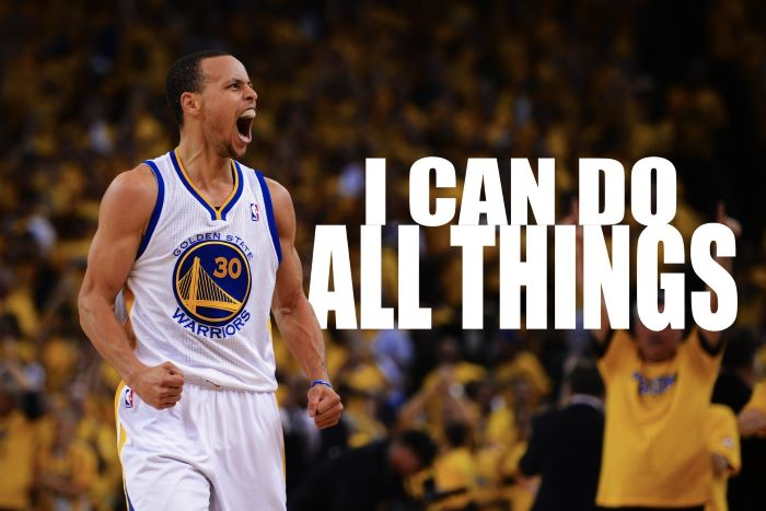 stephen curry background i can do all things written next to photo of steph on the court