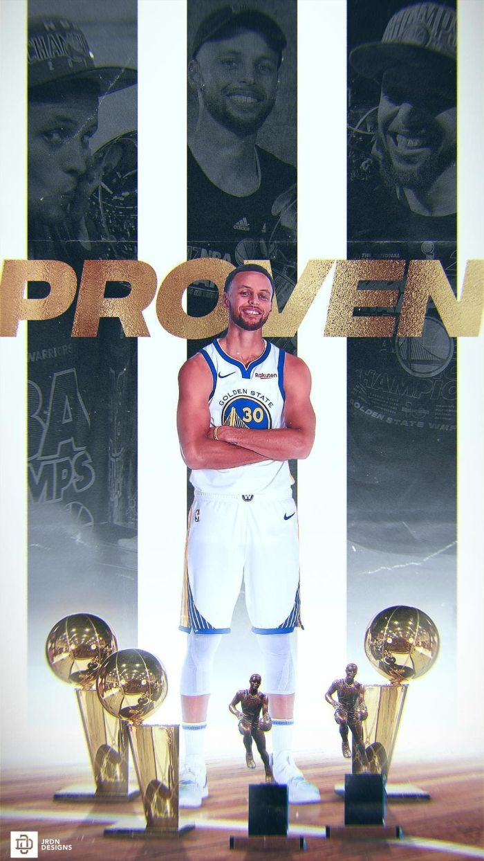 stephen curry nba wallpaper three championship trophies two mvp trophies in front of steph