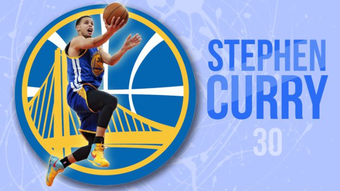 stephen curry written next to photo of steph stephen curry background golden state warriors logo