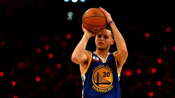 three point contest stephen curry wallpaper shooting the basketball wearing blue golden state warriors jersey