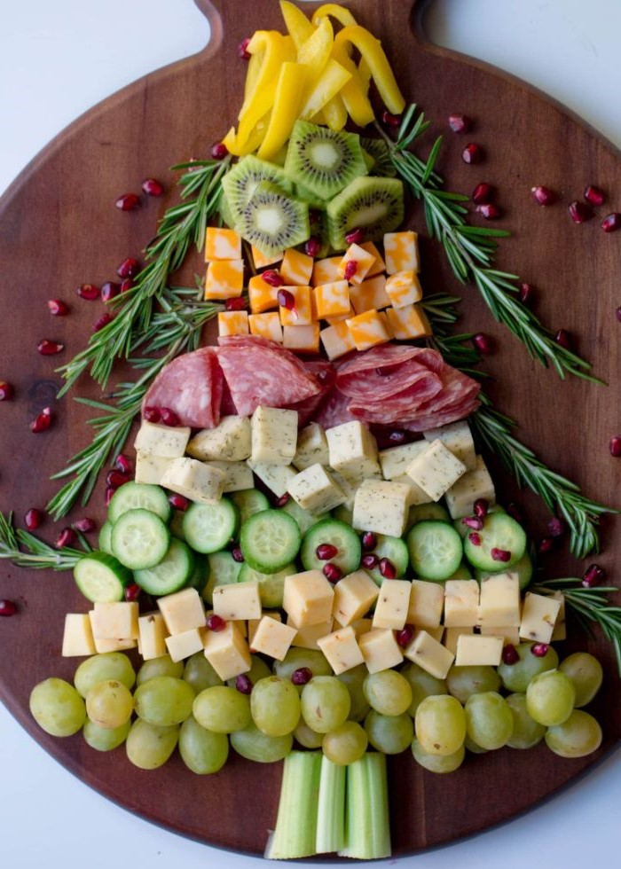 tree shaped cheese board ideas with cheeses meats fruits veggies rosemary branches