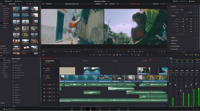 video being edited on davinci resolve best video editing software screenshot