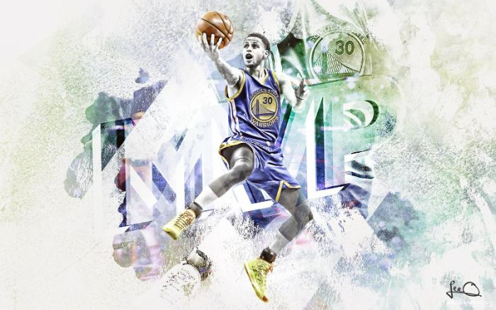 white background photo of steph laying up the ball cartoon stephen curry wallpaper mvp written behind him