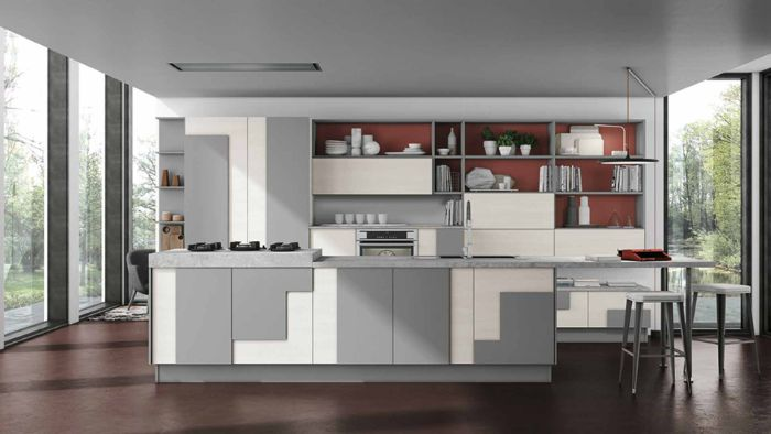 white kitchen cabinets with geometric gray accents floating kitchen cabinets red backdrop
