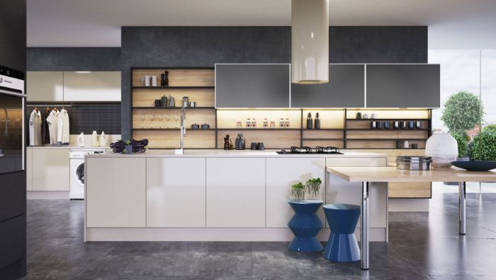 white kitchen island black wall with black cabinets open shelving kitchen wooden backdrop