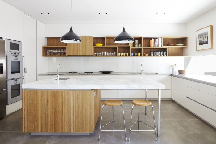 wood floating shelves kitchen wooden kitchen island and shelves white countertops white bottom cabinets