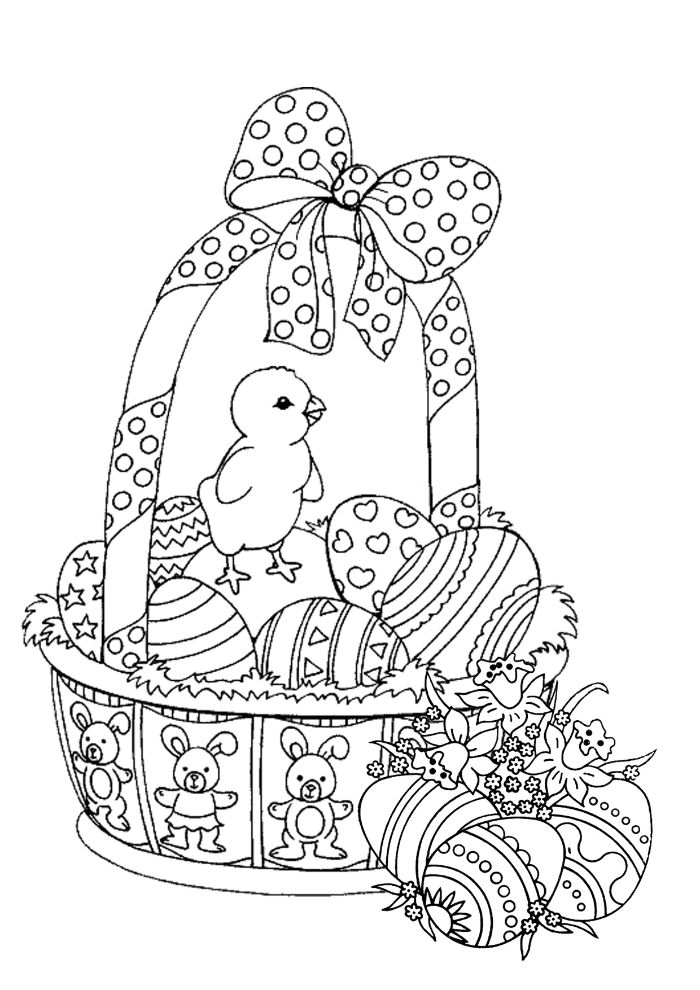 basket full of eggs with bow on top easter bunny coloring pages small chicken on top black and white drawing