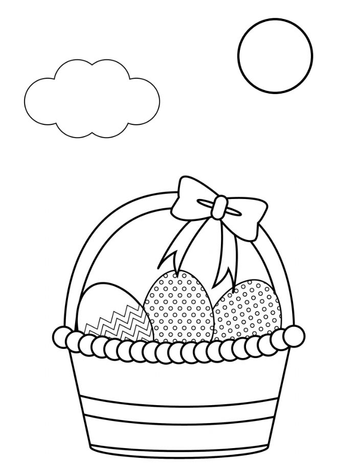 basket with three eggs inside bow on top easter coloring sheets black and white drawing