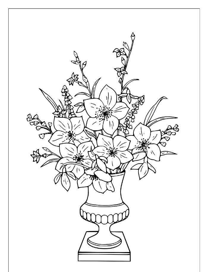 black and white drawing flower coloring pages for kids vase filled with different flowers