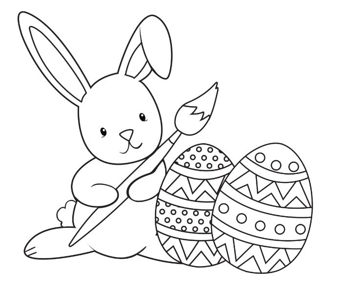 black and white drawing of bunny holding a paintbrush easter pictures to color two eggs in front of it