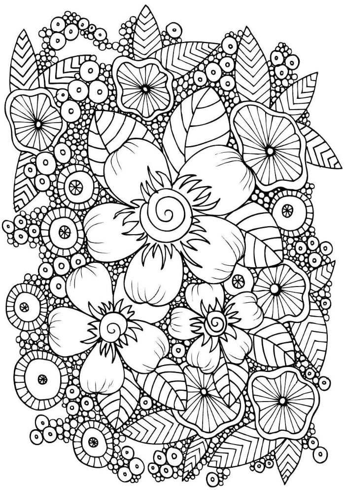black and white drawing of different flowers free coloring pages for girls different patterns intertwined