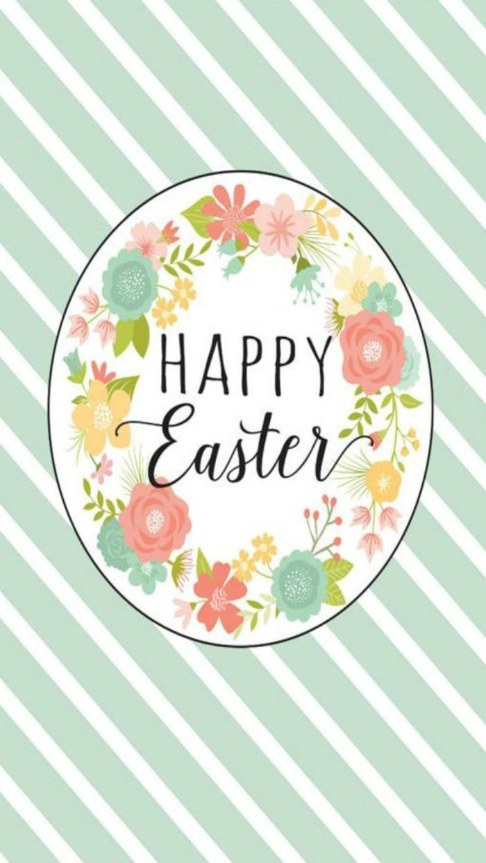 blue and white striped background easter bunny background happy easter written in cursive surrounded by flowers