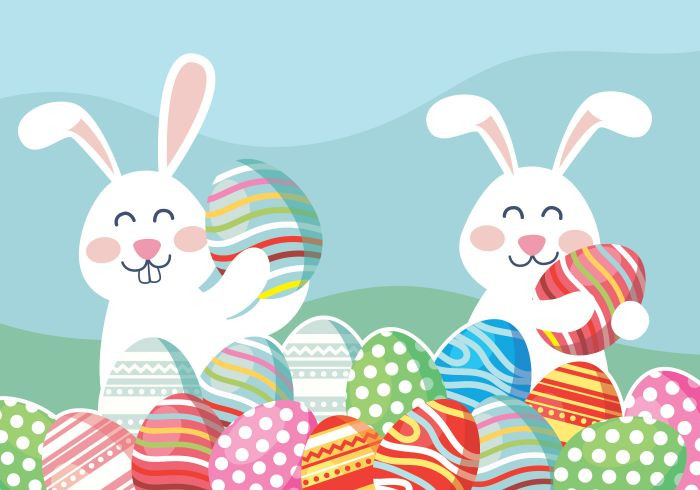 blue background easter egg background digital drawing of two bunnies surrounded by lots of colorful eggs