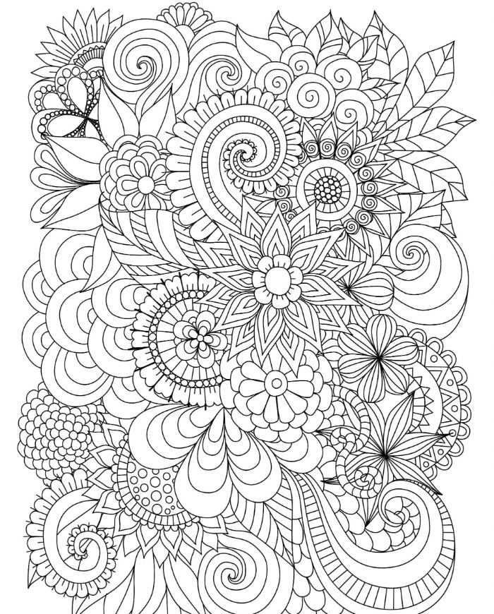 bunch of flowers printable full size coloring pages for kids black and white drawing with different patterns
