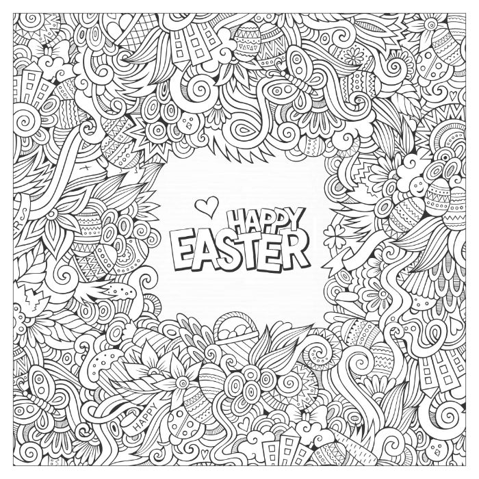 bunny coloring pages happy easter written in the middle floral pattern in black and white around it