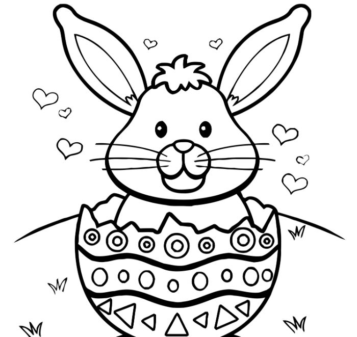 bunny coming out of an egg easter egg printable small hearts drawn around it
