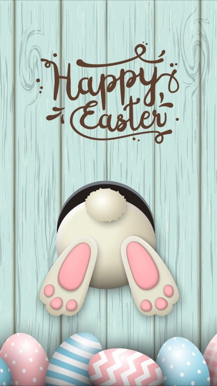 bunny going through a hole digital drawing free easter wallpaper happy easter written in cursive