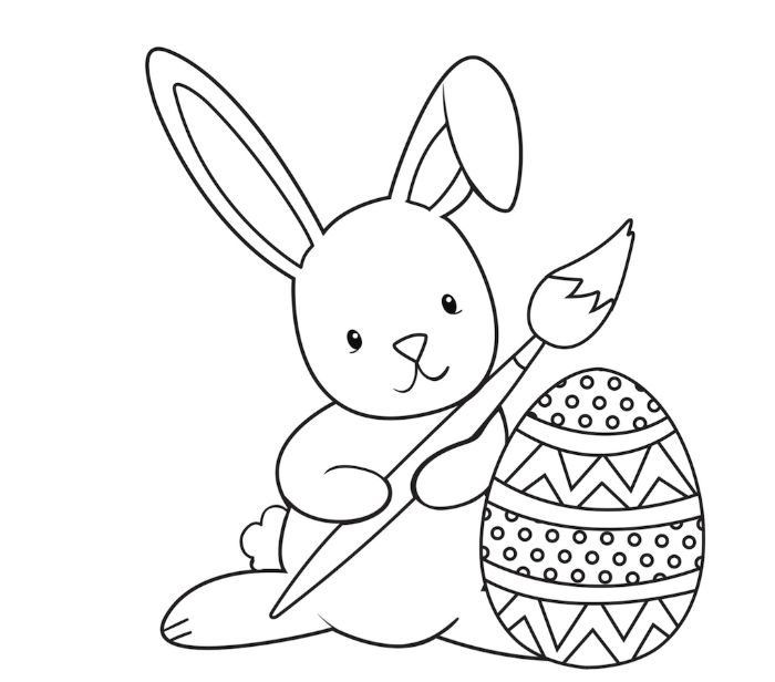 bunny holding a paintbrush free printable easter coloring pages egg with different patterns