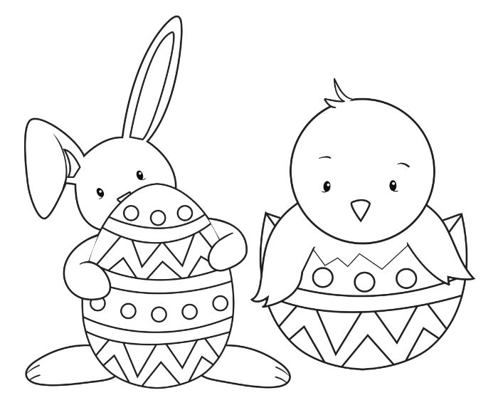 bunny holding an egg easter egg coloring pages small chicken coming out of an egg black and white drawing