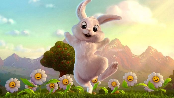 bunny hopping around cute easter wallpaper digital drawing field with daisies and apple tree