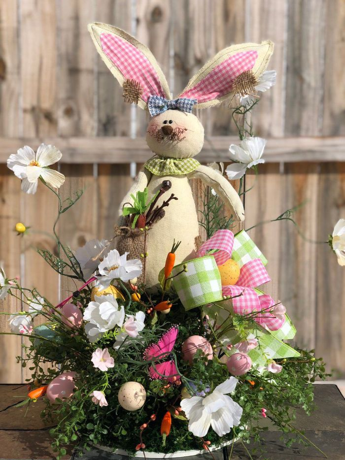 bunny made from fabric patches easter decorations centerpiece with flowers eggs and ribbons in pink ang green