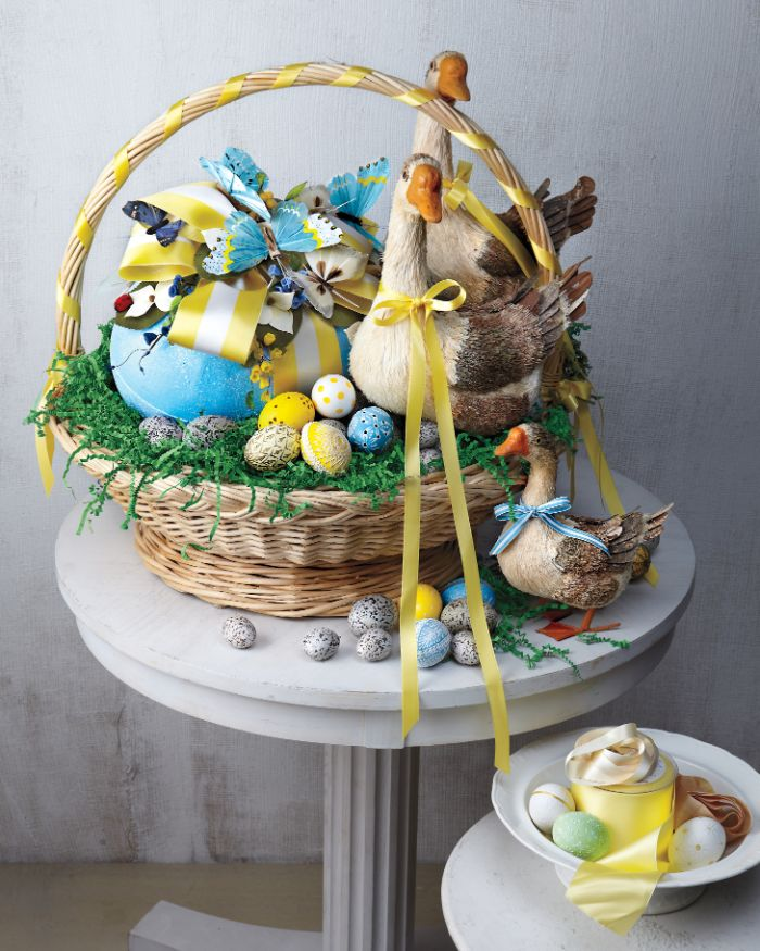 ceramic ducks large egg with bow small easter eggs easter baskets for kids placed on white table