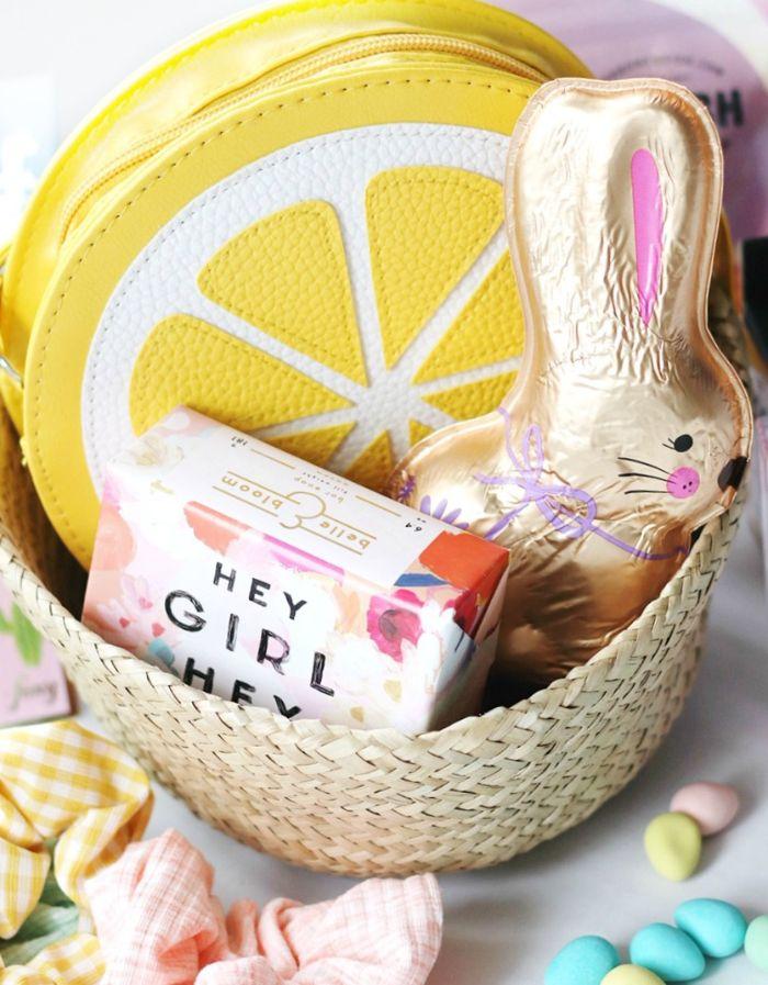 chocolate bunny lemon shaped beauty bag soap inside wicker basket easter baskets for kids
