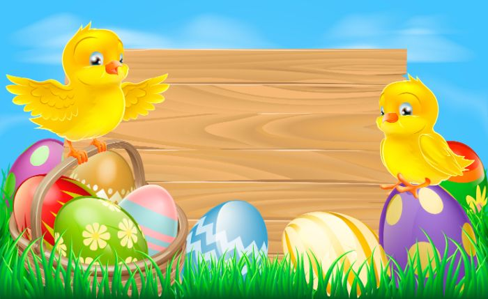 digital drawing of small chickens standing on basket full of eggs in different colors easter wallpaper