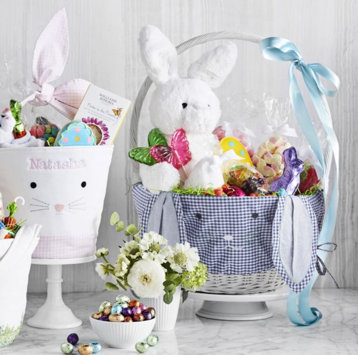 diy easter basket covered with fabric filled with stuffed toy chocolate bunny candy
