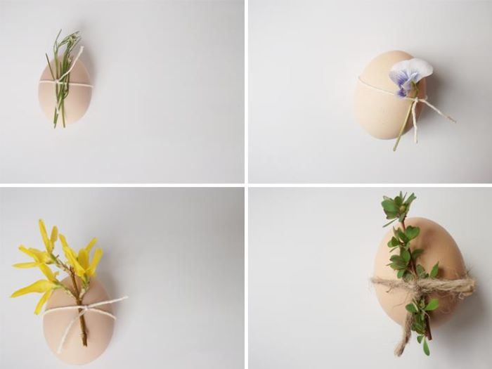 diy easter crafts photo collage of four boiled eggs with different flowers tied to them