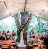 diy wedding ideas bride and groom standing in front of large tree tent set up in front of it