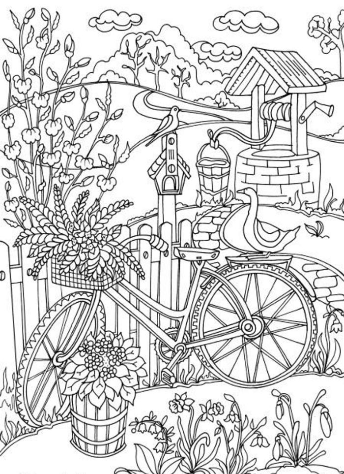 drawing of bike next to fence free coloring pages for girls well in the background lots of flowers and birds