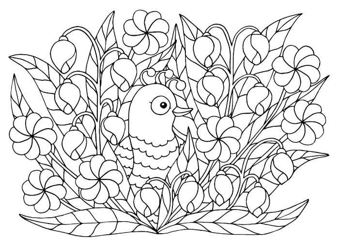 drawing of bird surrounded by flowers free printable spring coloring pages black and white