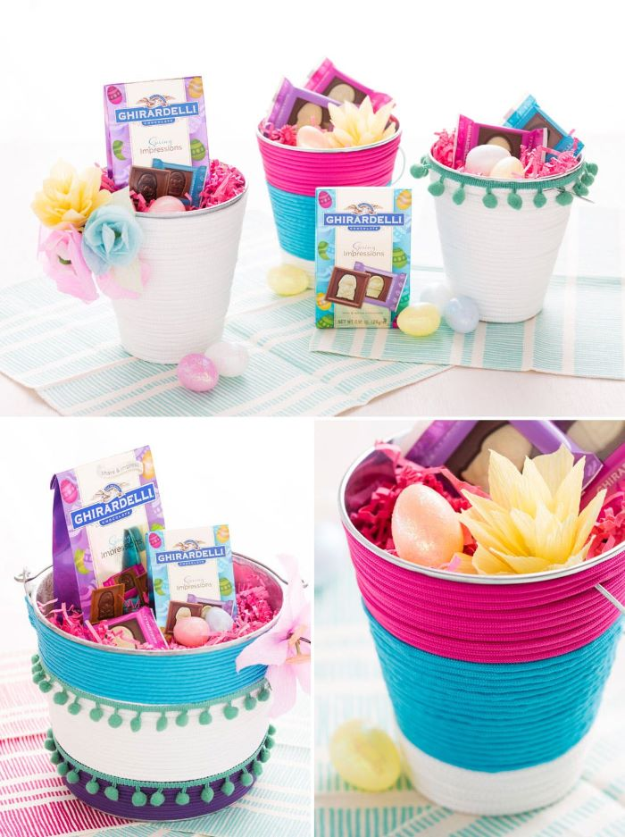 easter baskets for girls how to decorate metal buckets with rope and fill with candy