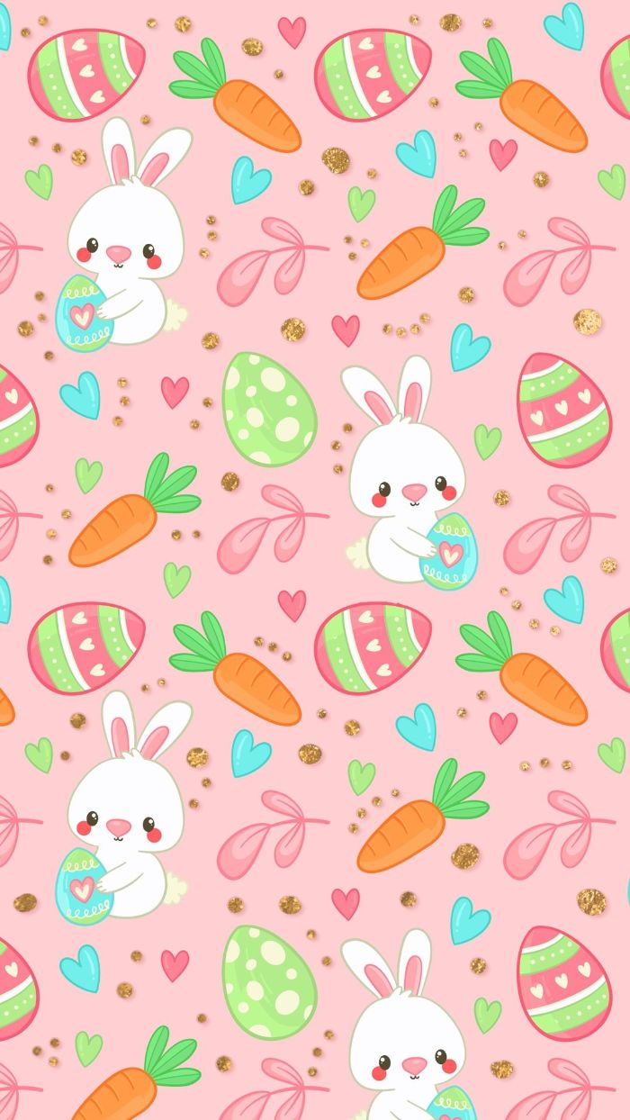 easter bunny background pink background digital drawings of bunnies eggs and carrots
