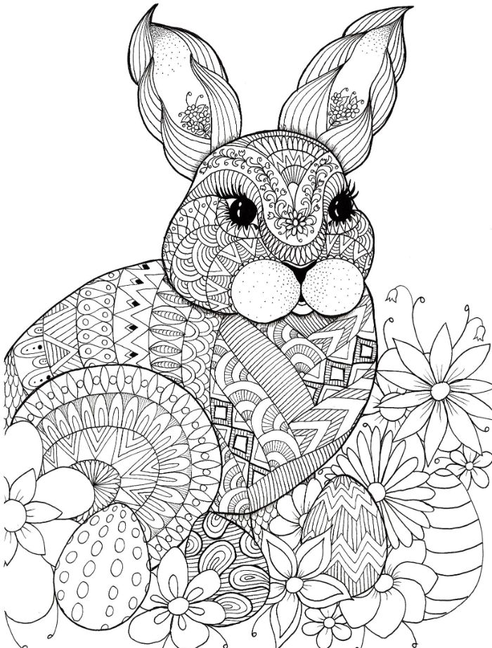 easter bunny surrounded by flowers and dyed eggs spring coloring pages black and white drawing