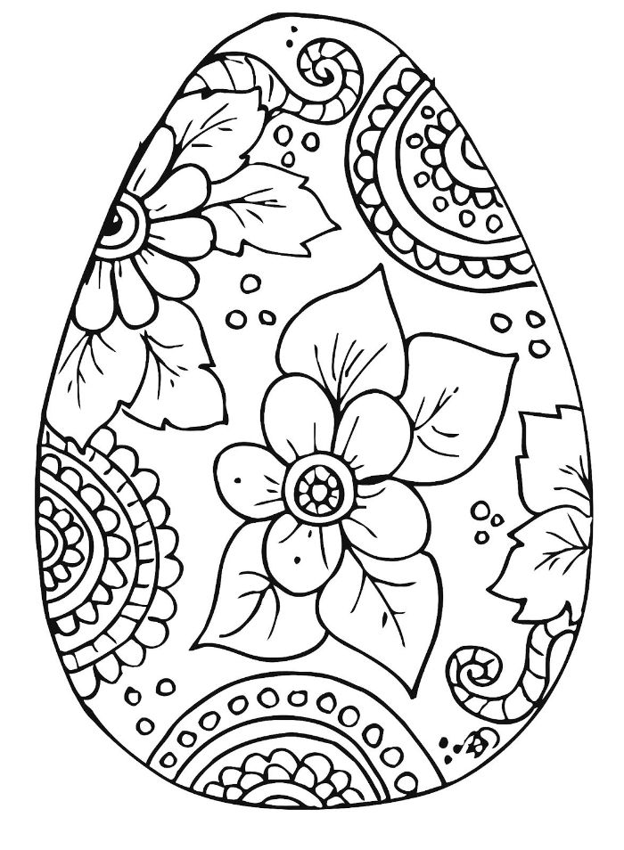 easter coloring pages black and white drawing of an egg with flowers and floral patterns on it
