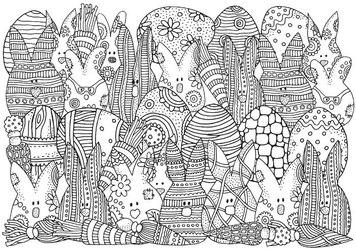 easter coloring sheets eggs and bunnies drawn in black and white with different patterns