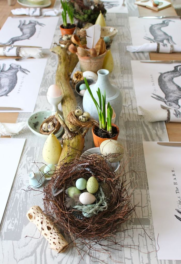 easter decoration ideas table runner with wooden branch ceramic pots and vases egg nest