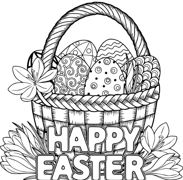 easter egg coloring pages happy easter written over basket full of eggs flower on the side