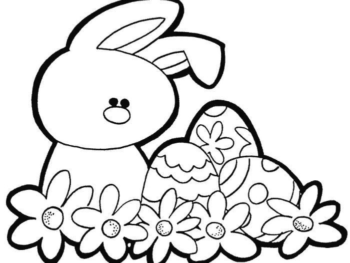 easter egg printable bunny standing next to three eggs with flowers below them black and white drawing