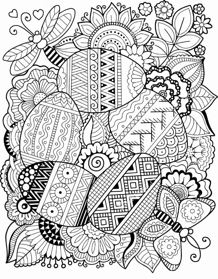 easter eggs with different patterns free spring coloring pages surrounded by flowers and butterflies
