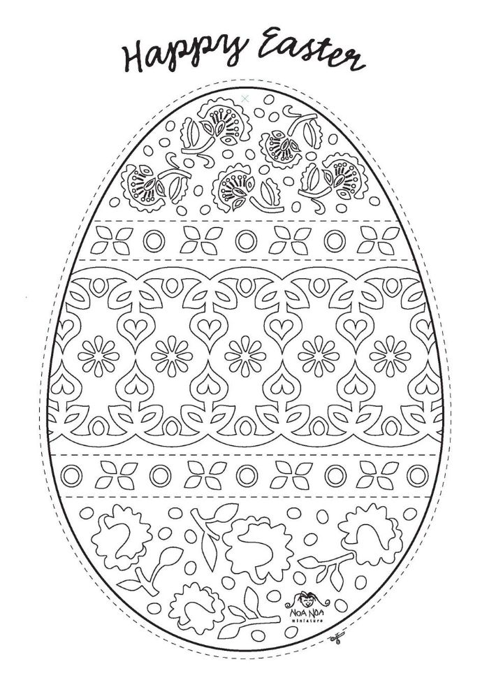 easter pictures to color happy easter written over black and white drawing of egg with floral patterns