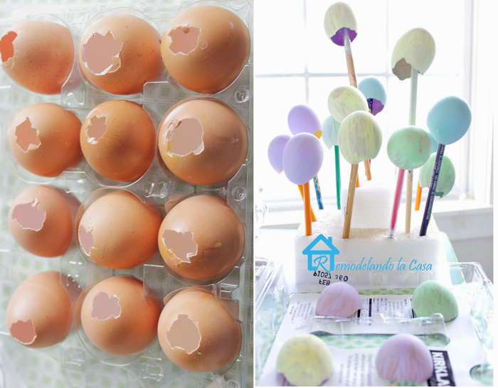egg shells painted in different colors easy easter crafts side by side photos of step by step diy tutorial