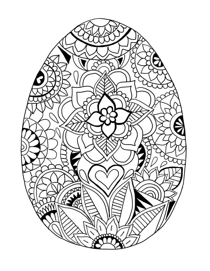 egg with floral patterns on it and heart in the middle bunny coloring pages black and white drawing