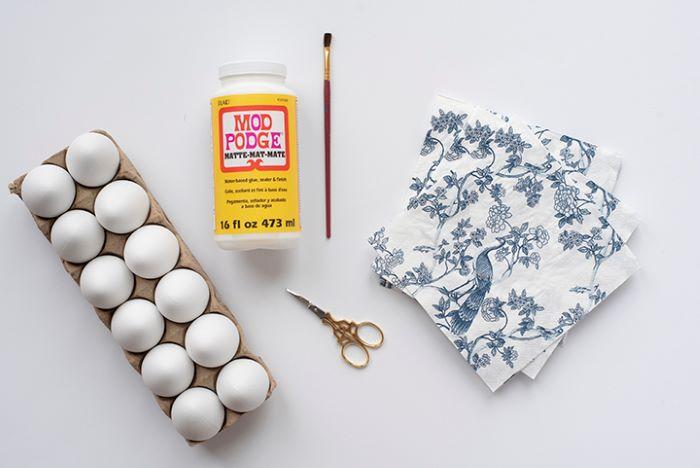 eggs mod podge paintbrush scissors napkins how to dye eggs supplies for diy tutorial