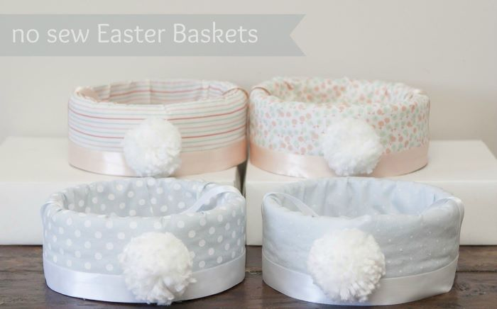 four easter baskets covered with fabric easter baskets for girls white pom poms