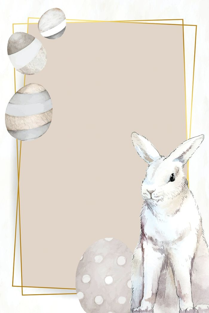 frame in gold easter background free digital drawing of easter eggs and bunny in the corners